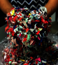 The toys are made from textile waste