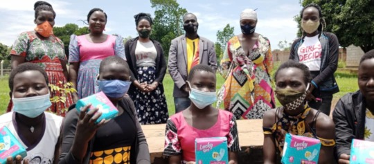Students Receiving pads at school