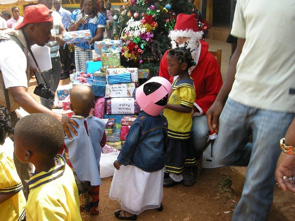 distributing Christmas gifts