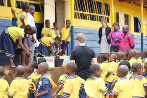 Children outside at Hand Washng Day