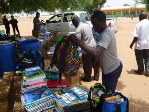 School supplies being sorted to distribute