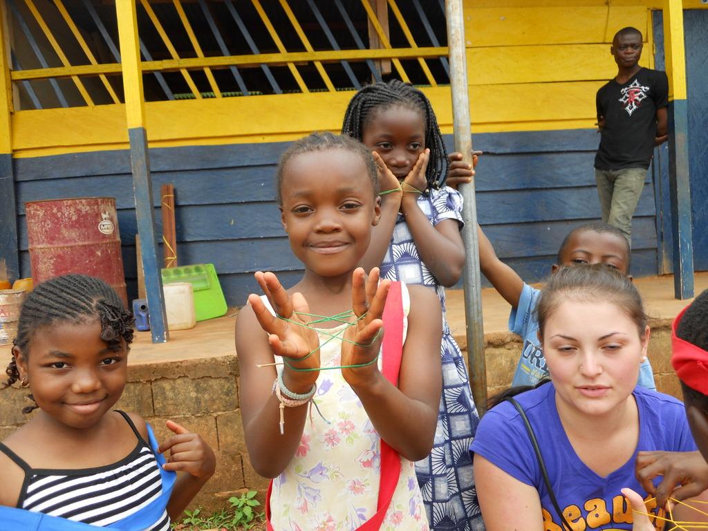 Children at school with volunteer
