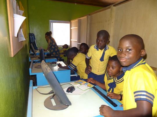 children happily learning