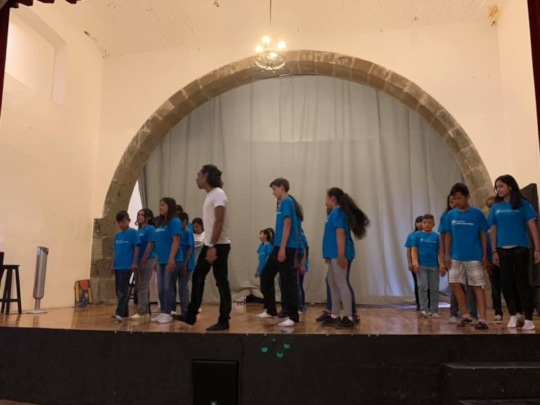 On stage for the theater workshop