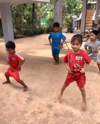 Sports session with our students in Cambodia