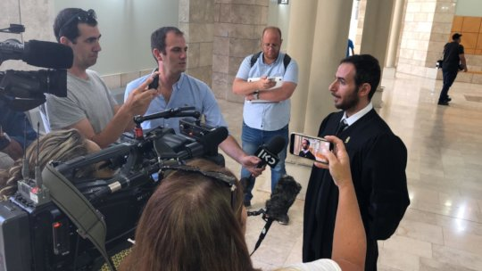Adalah Attorney Fady Khoury speaking to media