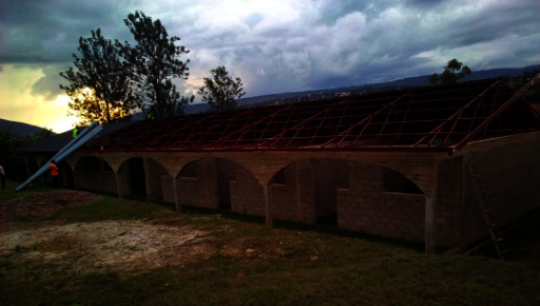 View of classroom block building without roof
