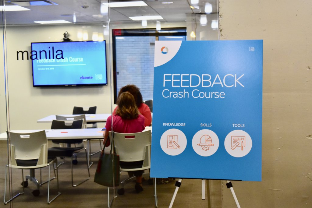 Train disaster relief practitioners in feedback