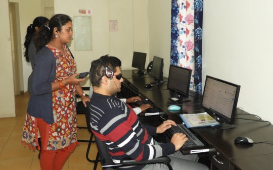 Computer training to a Visually Impaired boy...