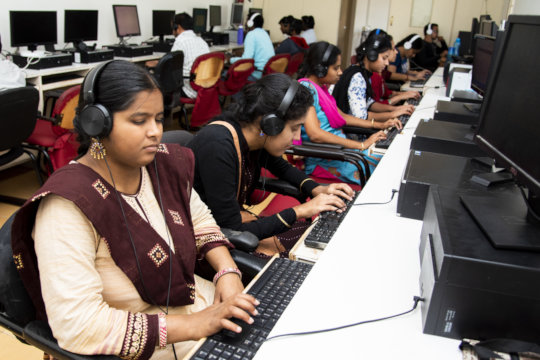 Visually Impaired students learning computer usage