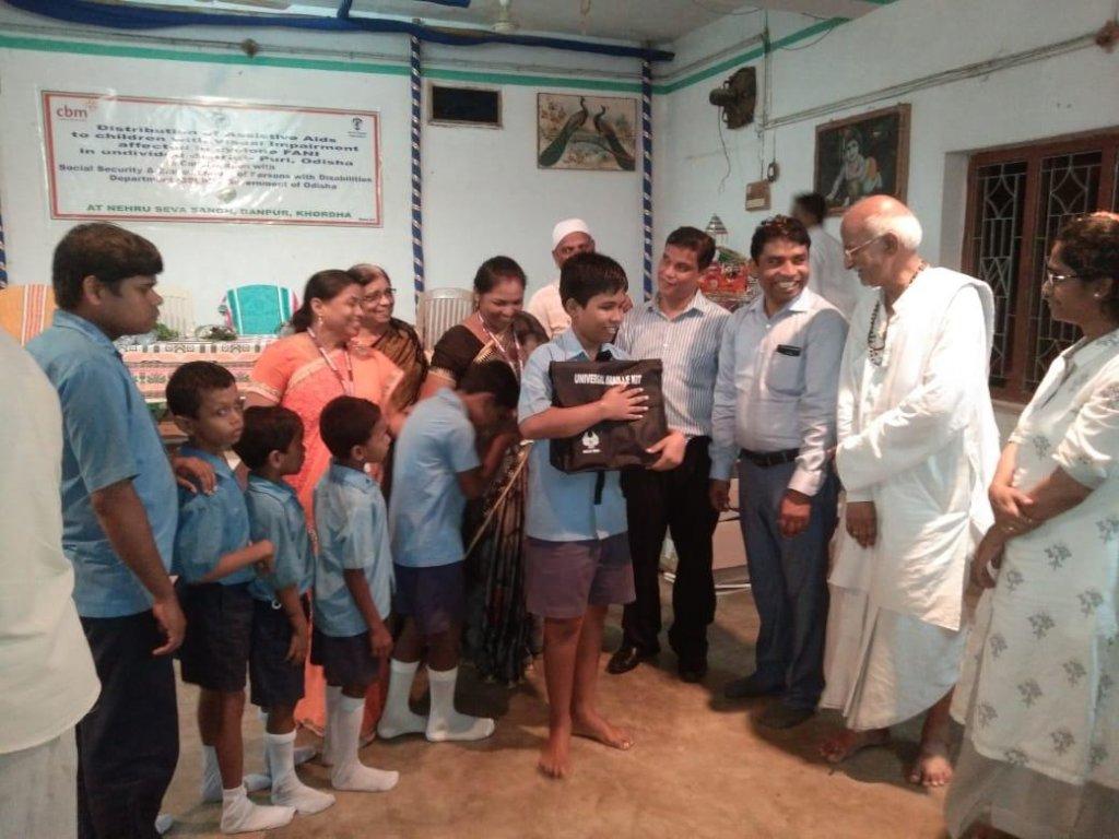 Blind Students receiving kit