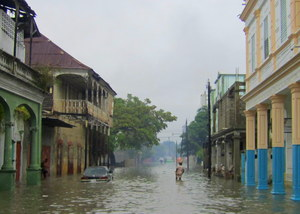 Flooding in the streets of Les Cayes