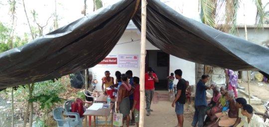 Trampolines being distributed in Nimapada, Puri