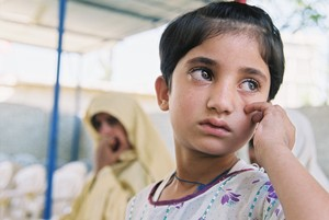 A young girl being treated at LRBT Hospital