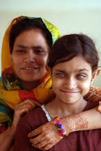 Mother with blind daughter