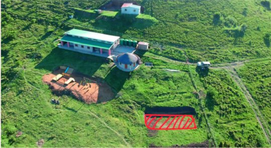 Aerial picture of the Education center