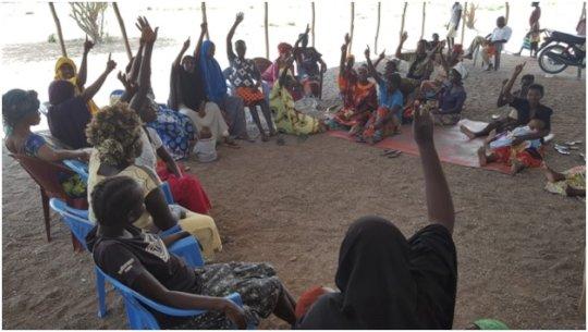 Refugee women at workshop.