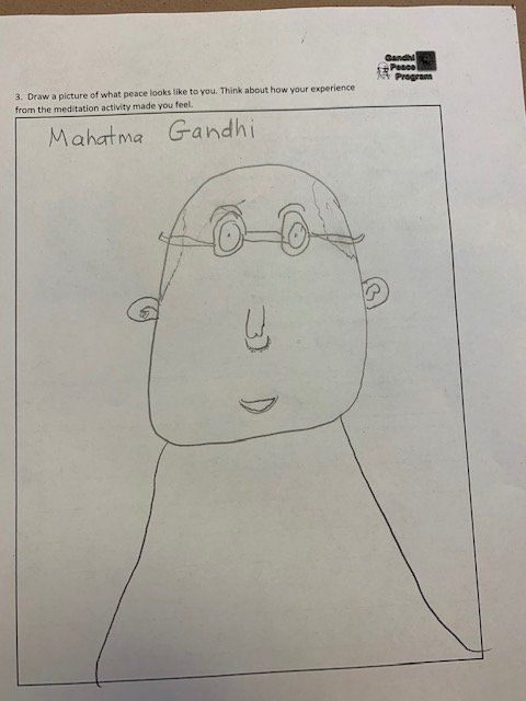 A Student's Drawing of Mahatma Gandhi