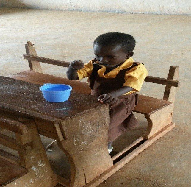 Fatima enjoying her tasty breakfast