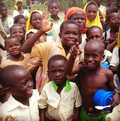 Happy kiddos at the Beddabour Islamic School