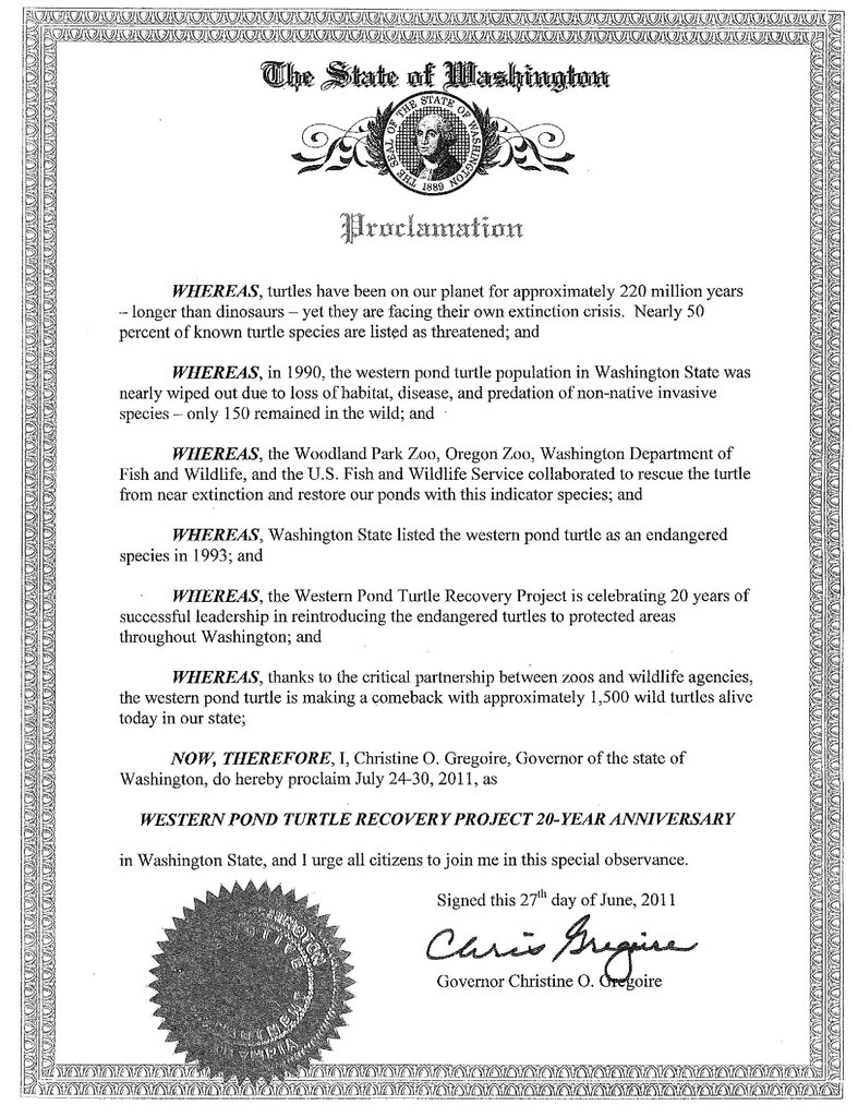 WA State recognition of turtle recovery efforts