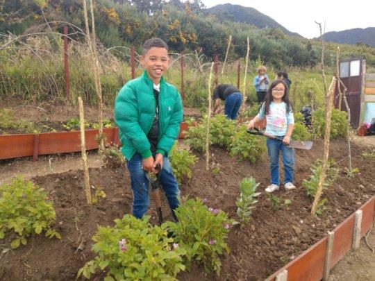Kids from the neighborhood working on the garden