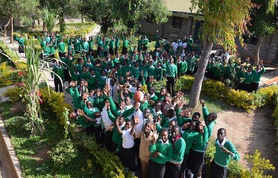 Mahiga Hope High Courtyard and students