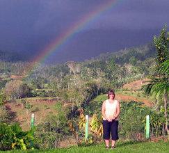 Cindy under a rainbow