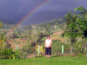 Cindy in front of the rainbow