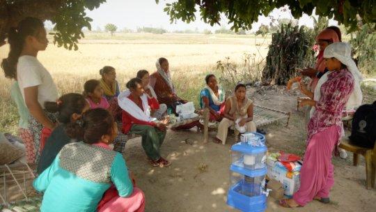 Nepali entrepreneur Basanti giving sales pitch.