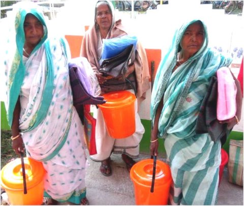 Lone widows with Relief Materials