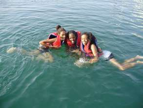 Ness Tziona Star Program participants in the water