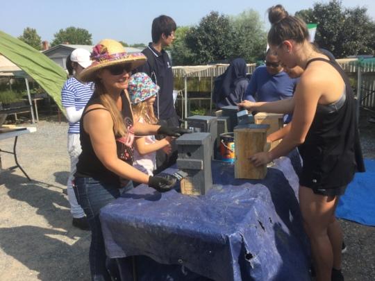 Volunteers building Nest Boxes
