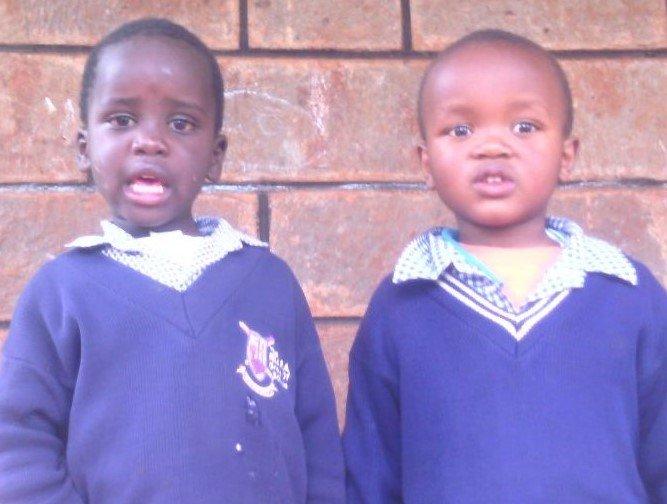 John and Lewis in School Uniform