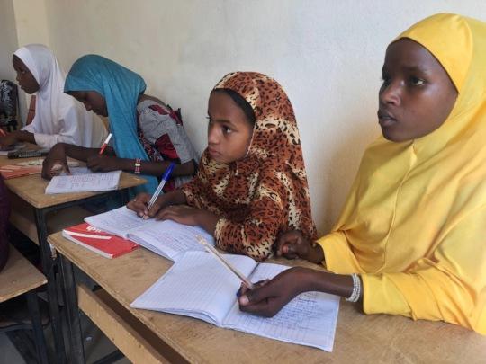 Rakia and Fatima studying