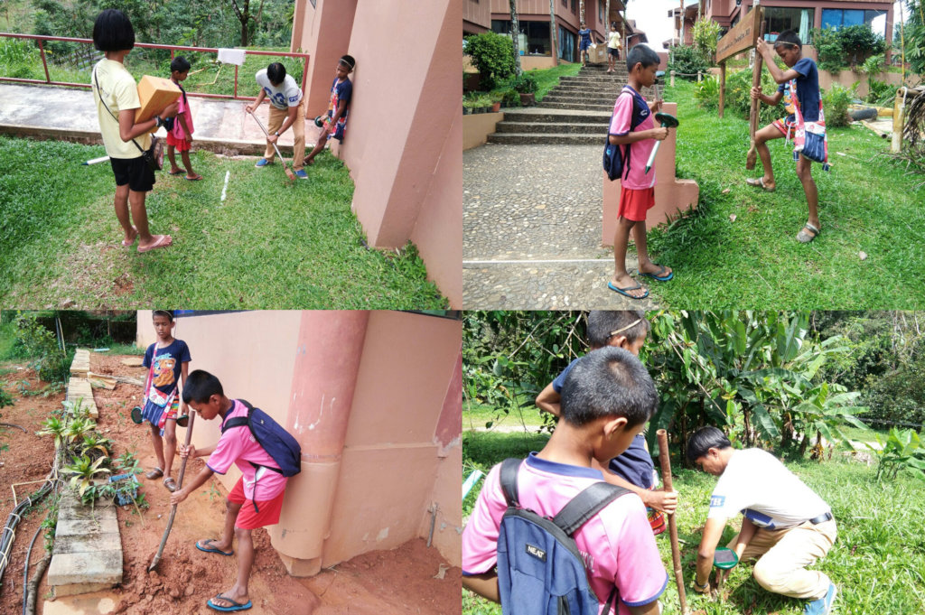 Figure 2: Children helping devices installation