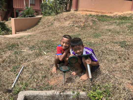 Fig 1: Kids from grade 2 planting device m2