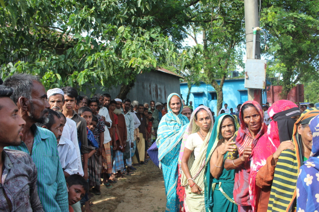 People Gathering for Relief Distribution Program