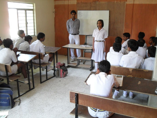 Reciting in front of the class