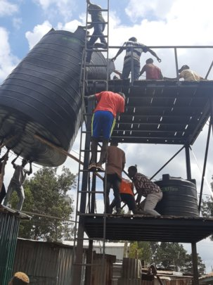 Erection of water tanks on the stand