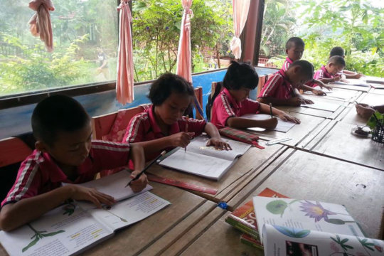 Figure 1: Grade 1 students using drawing books