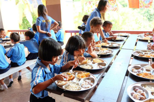 Figure 2: Some kindergartners having meals