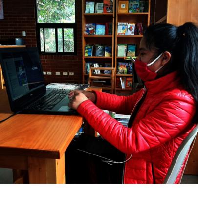 Elvira, Girl Pioneer participating in a webinar