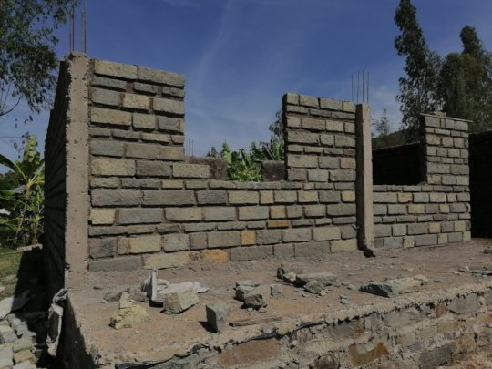 Initial stages of the stone walled two classroom
