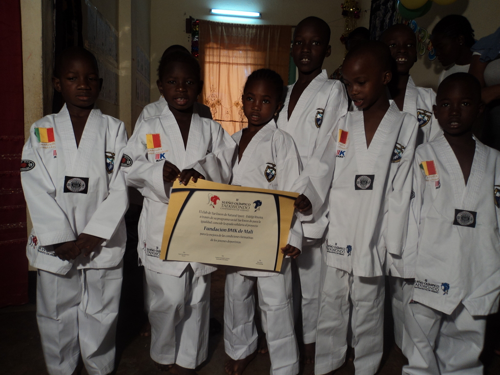 Children dressed up for the Taekwondo classe