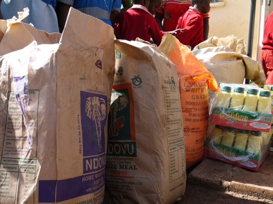 Baskets include flour, sugar, oil, rice & porridge