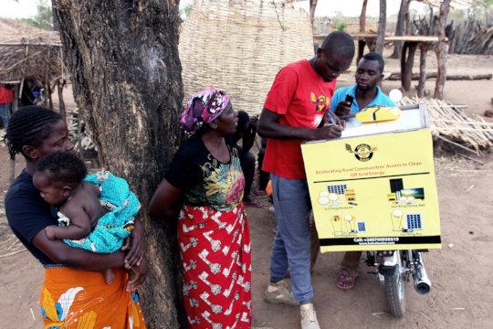 Josias registering solar beneficiaries