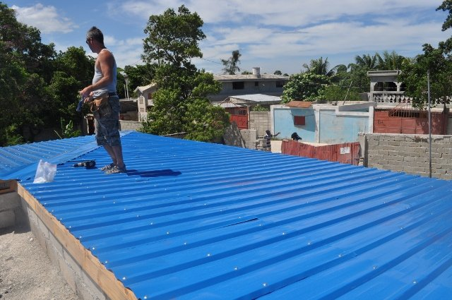 Roof nearing completion at Institution Classique