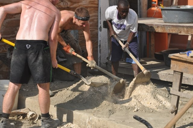 Mixing concrete for a drainage system