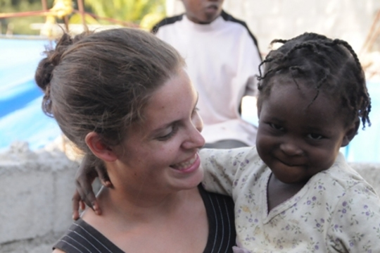 Emma with one of the kids we have housed
